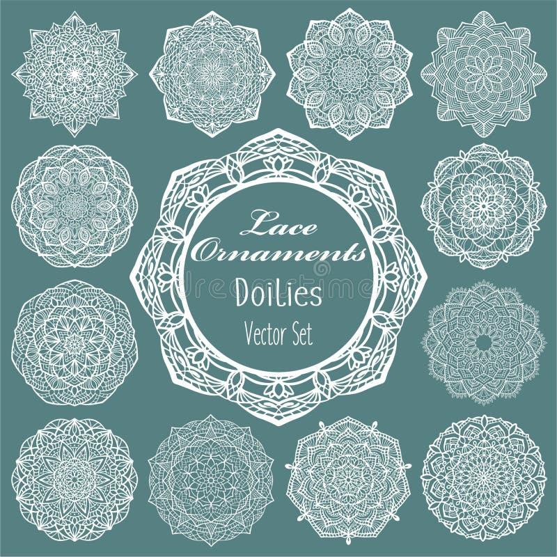 Uitstekende ronde kantkaders, elegante witte servetten voor de kaart, de tekst of de foto van de huwelijksuitnodiging De reeks va royalty-vrije illustratie