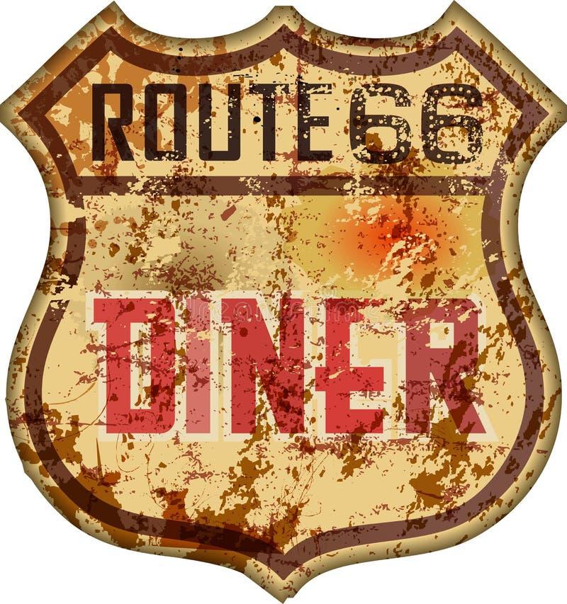 Uitstekende route 66 diner teken, retro stijl, vectorillustratie stock illustratie