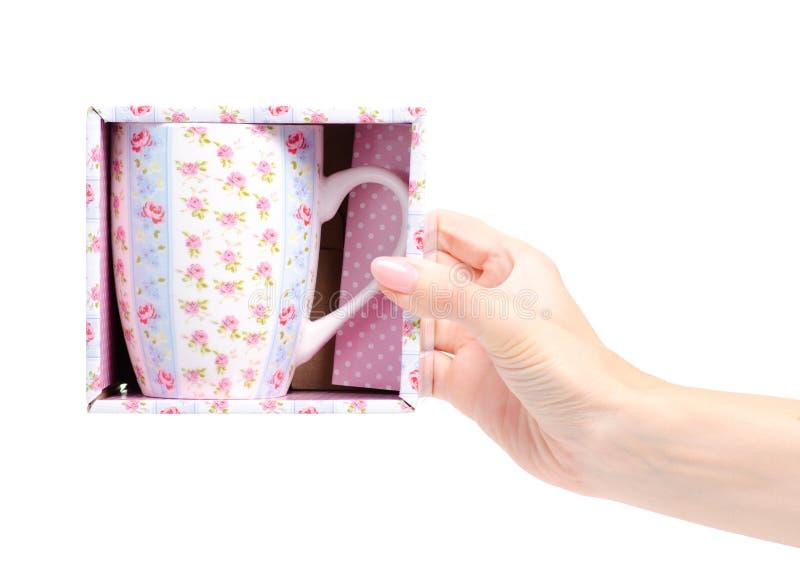 Uitstekende roze blauwe de bloemdoos van de kopmok ter beschikking stock fotografie