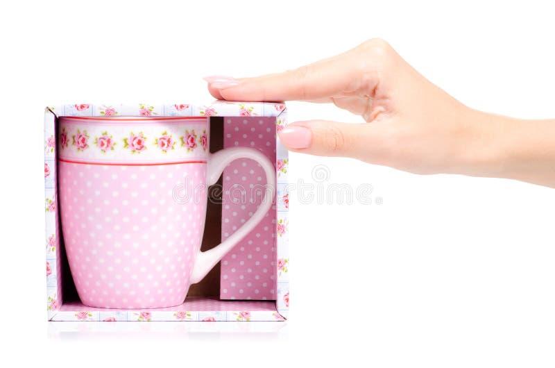 Uitstekende roze de bloemdoos van de kopmok ter beschikking stock fotografie