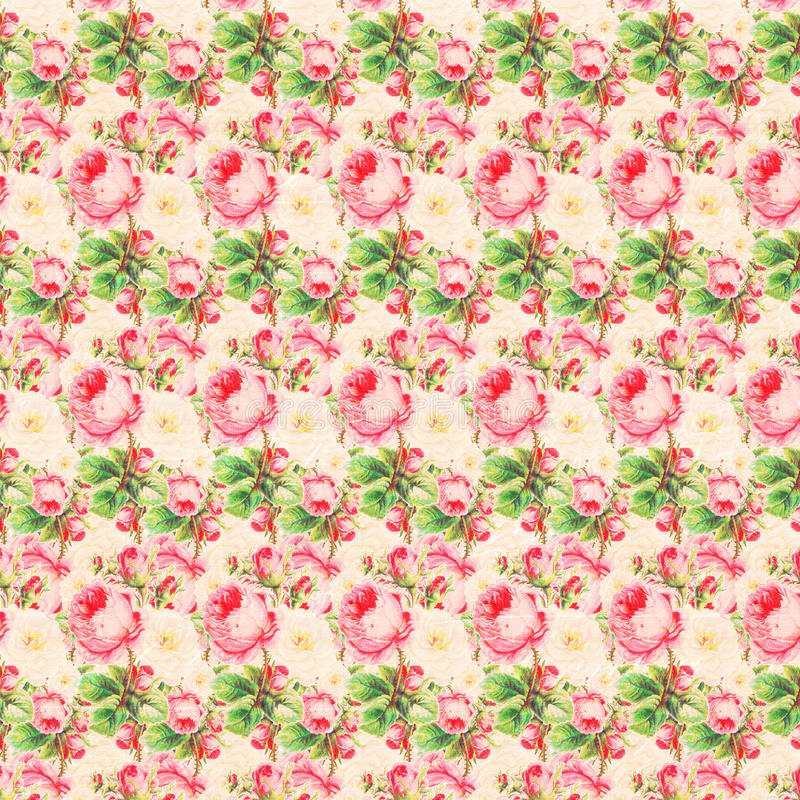 Uitstekende Roze en Groene Rose Pattern Background vector illustratie