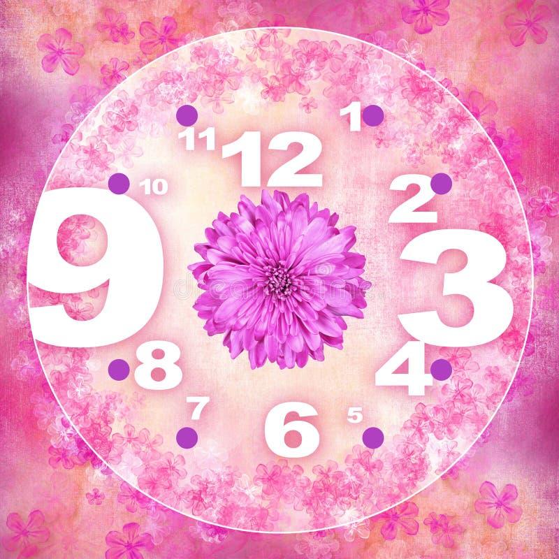 Uitstekende roze gerberabloem voor klokachtergrond royalty-vrije illustratie