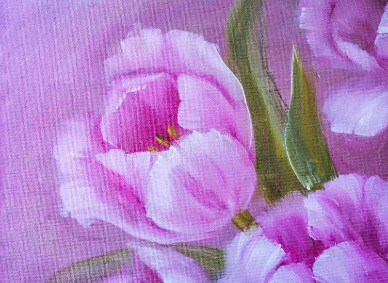 Uitstekende Roze Tulpen vector illustratie