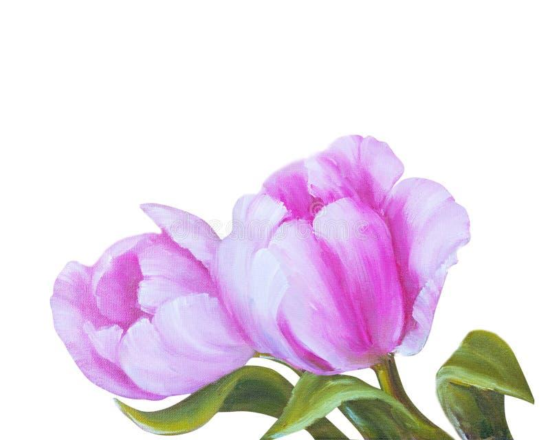 Uitstekende Roze Tulpen stock illustratie