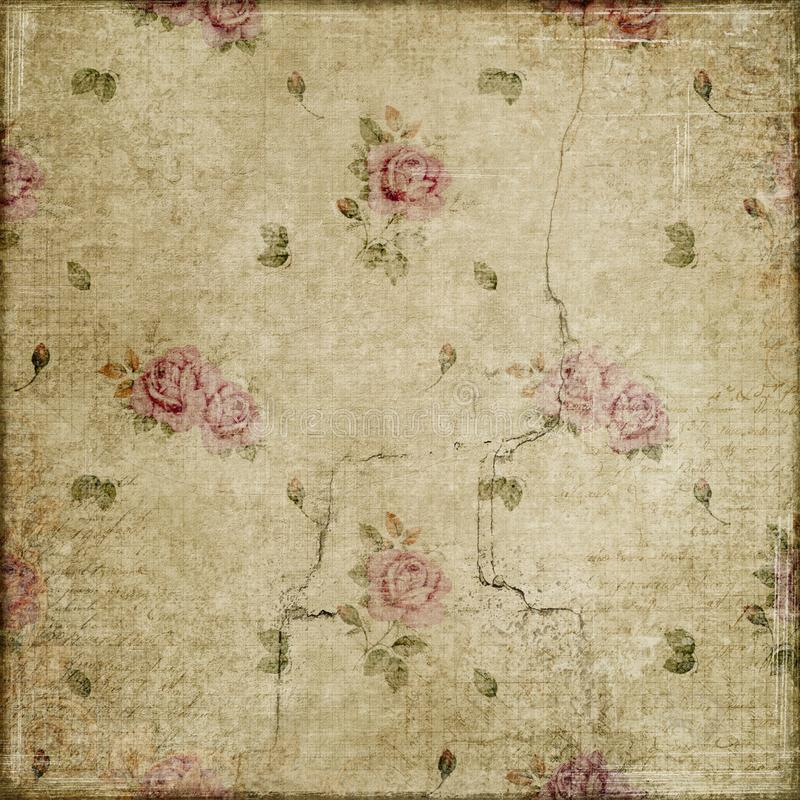 Uitstekende rozen grunge op beige plakboek als achtergrond stock afbeelding