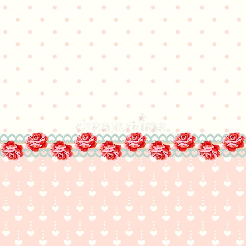 Uitstekende rozen met stippen stock illustratie