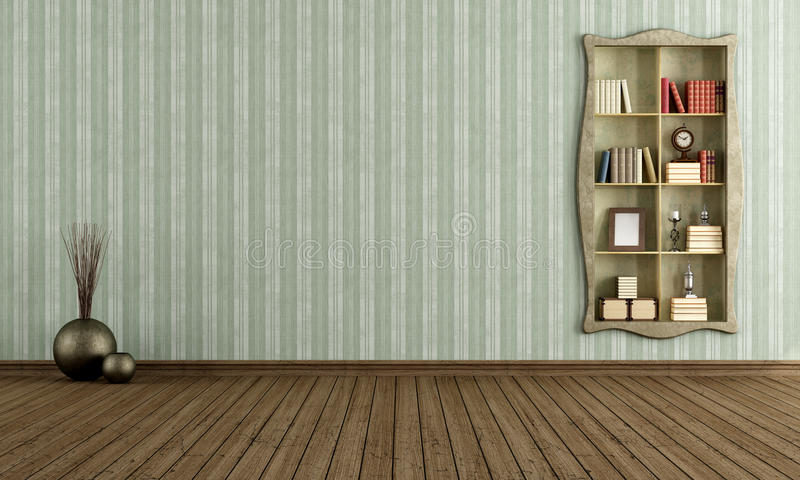 Uitstekende ruimte met oude boekenkast stock illustratie
