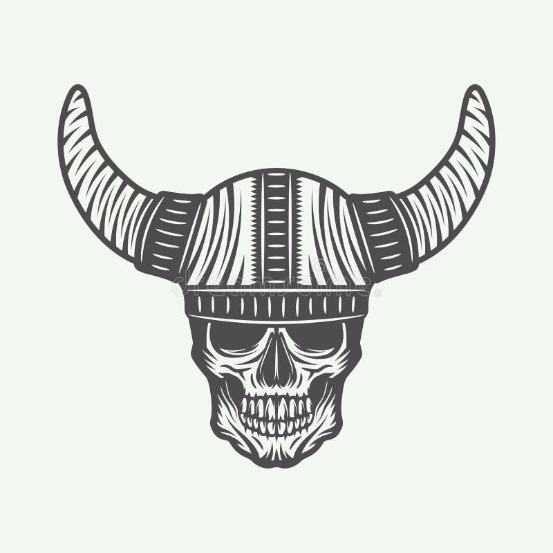 Uitstekende schedel in het roer van Viking in retro stijl vector illustratie