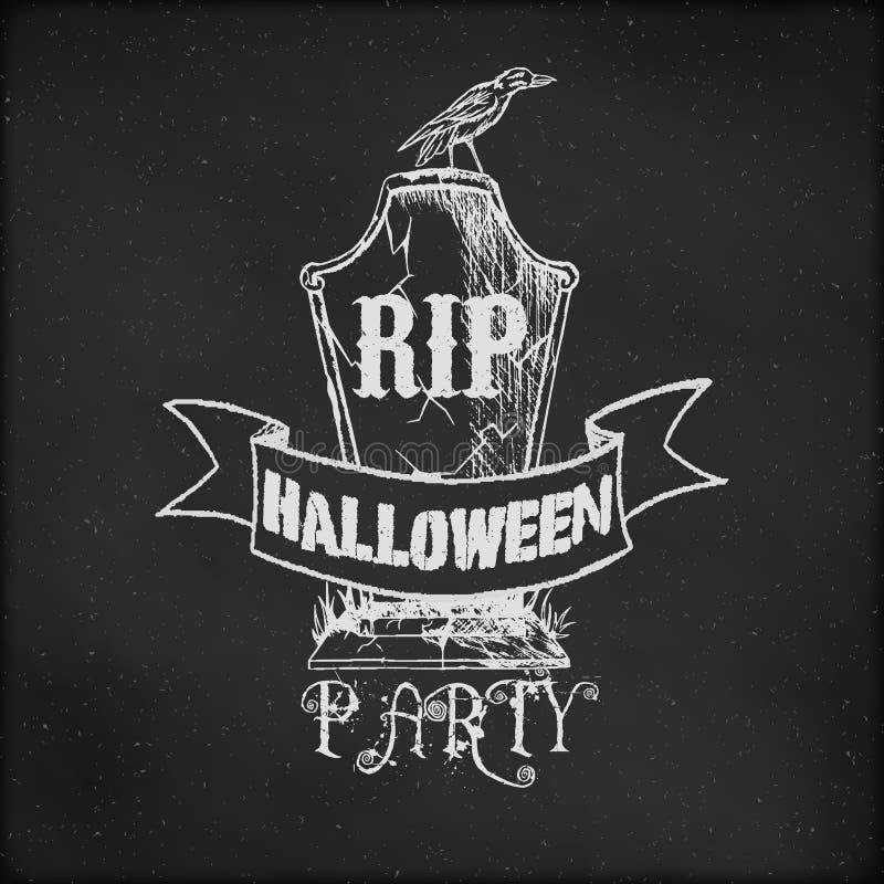 Uitstekende schets op bord voor Halloween-Partij royalty-vrije illustratie