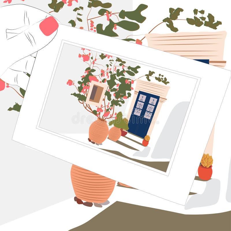 Uitstekende schetsprentbriefkaar, het huis van Griekenland en bloemen vector illustratie