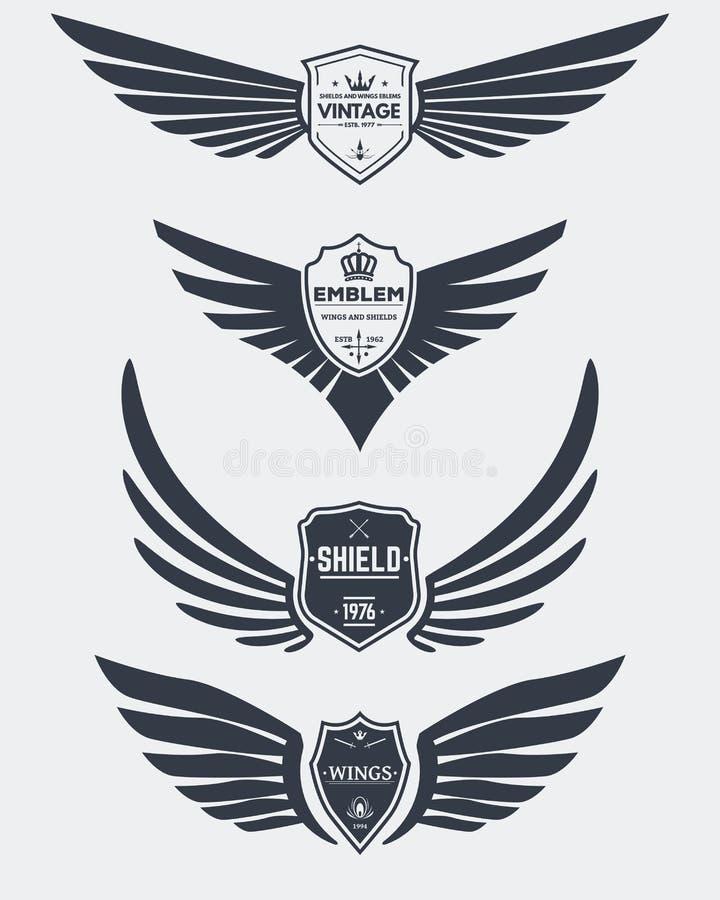 Uitstekende schilden en vleugels stock illustratie