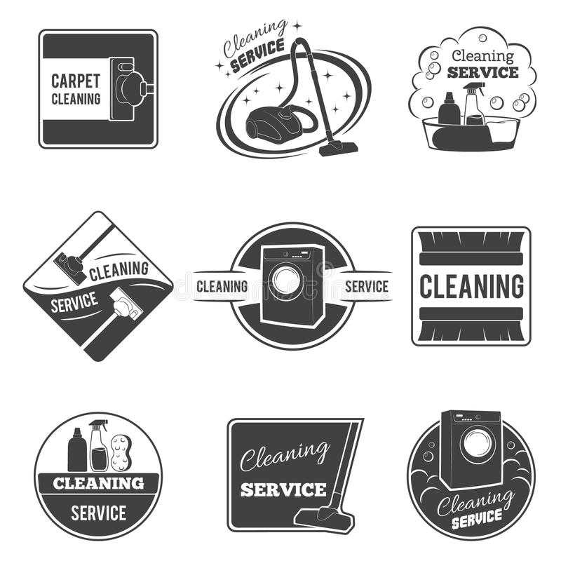 Uitstekende schoonmakende de dienst vectoremblemen, emblemen stock illustratie