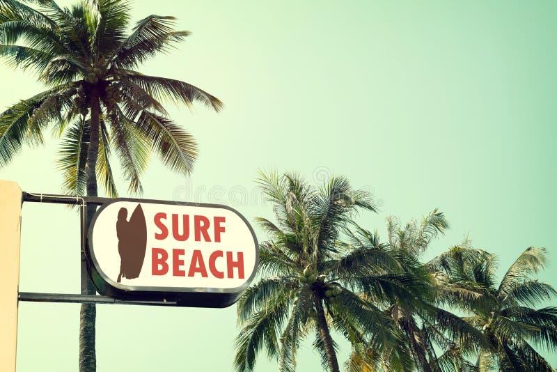 Uitstekende signage van het brandingsstrand en kokosnotenpalm op tropische strand blauwe hemel stock foto