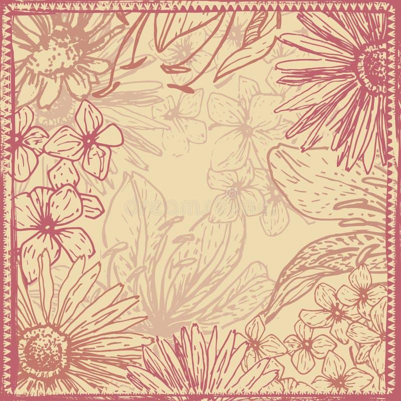 Uitstekende sjofele bloemenkaart stock illustratie