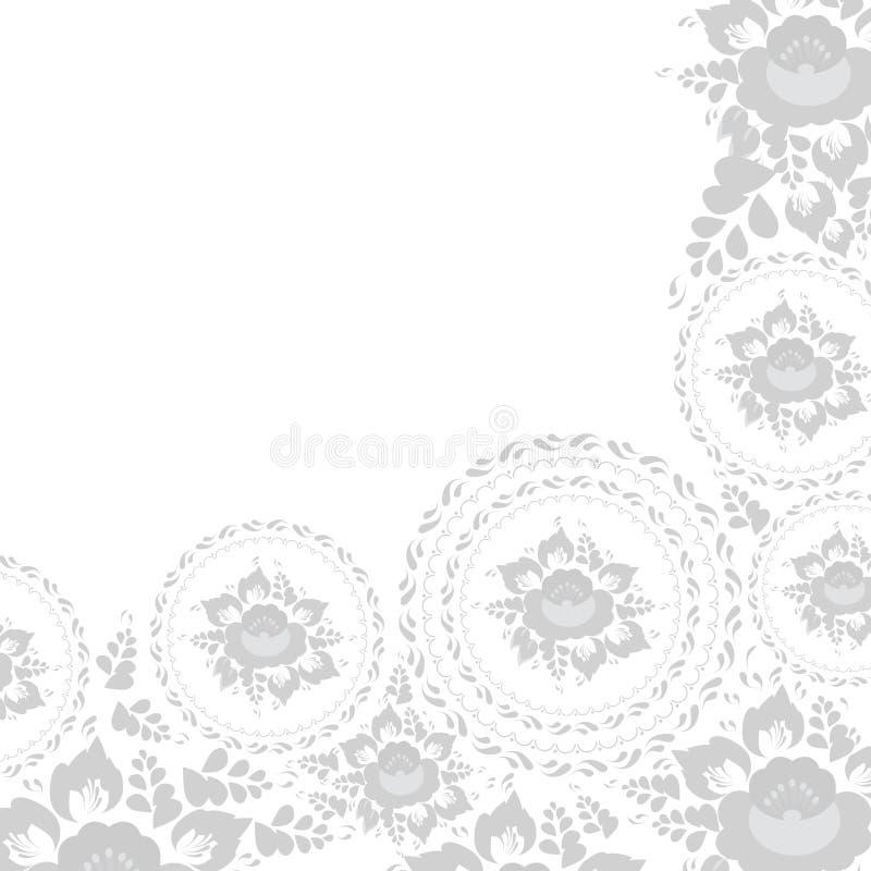 Uitstekende sjofele Elegante groetkaart met bloemen en bladeren Grijze bloemen op witte achtergrond Vector vector illustratie