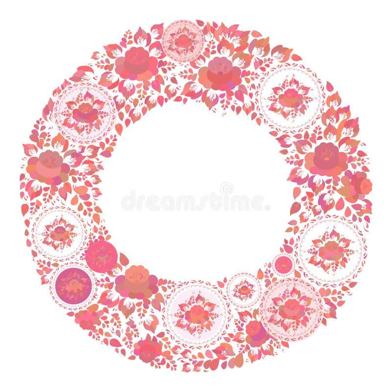 Uitstekende sjofele Elegante rode oranje bloemen en bladeren op witte achtergrond de lente romantische decoratie om kader, het on stock illustratie