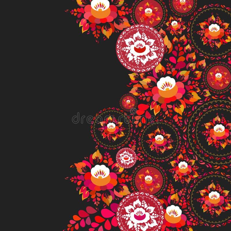 Uitstekende sjofele Elegante rode oranje bloemen en bladeren op zwarte achtergrond de kaartontwerp van de de lente romantisch dec stock illustratie