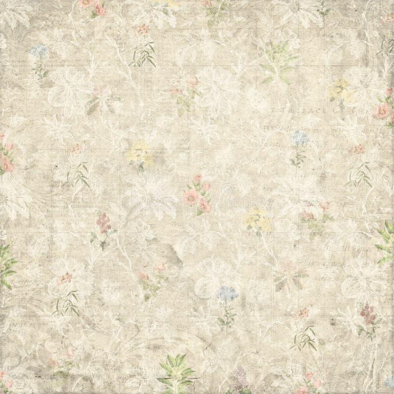 Uitstekende sjofele langzaam verdwenen het document van het bloemenpatroon achtergrond stock fotografie