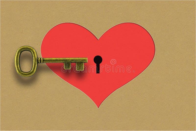 Uitstekende sleutel en document hartachtergrond stock foto's