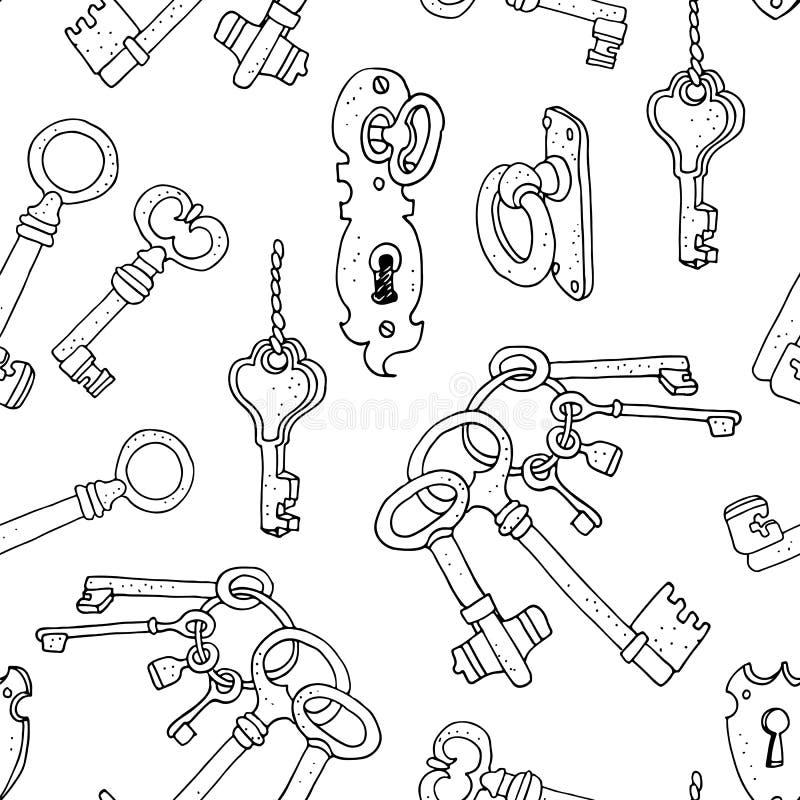 Uitstekende sleutels naadloze achtergrond vector illustratie