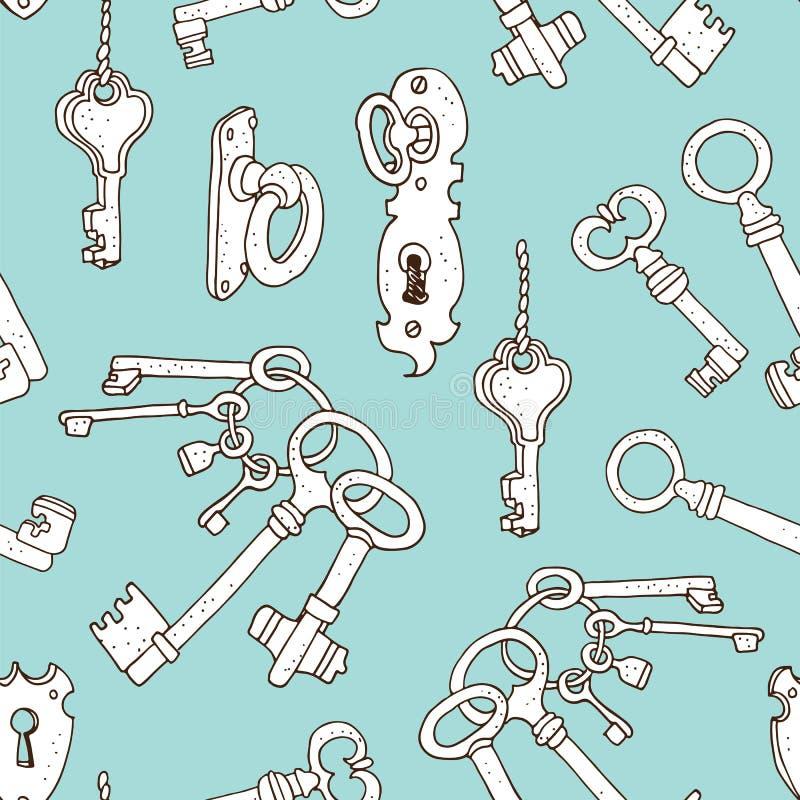 Uitstekende sleutels naadloze achtergrond royalty-vrije illustratie