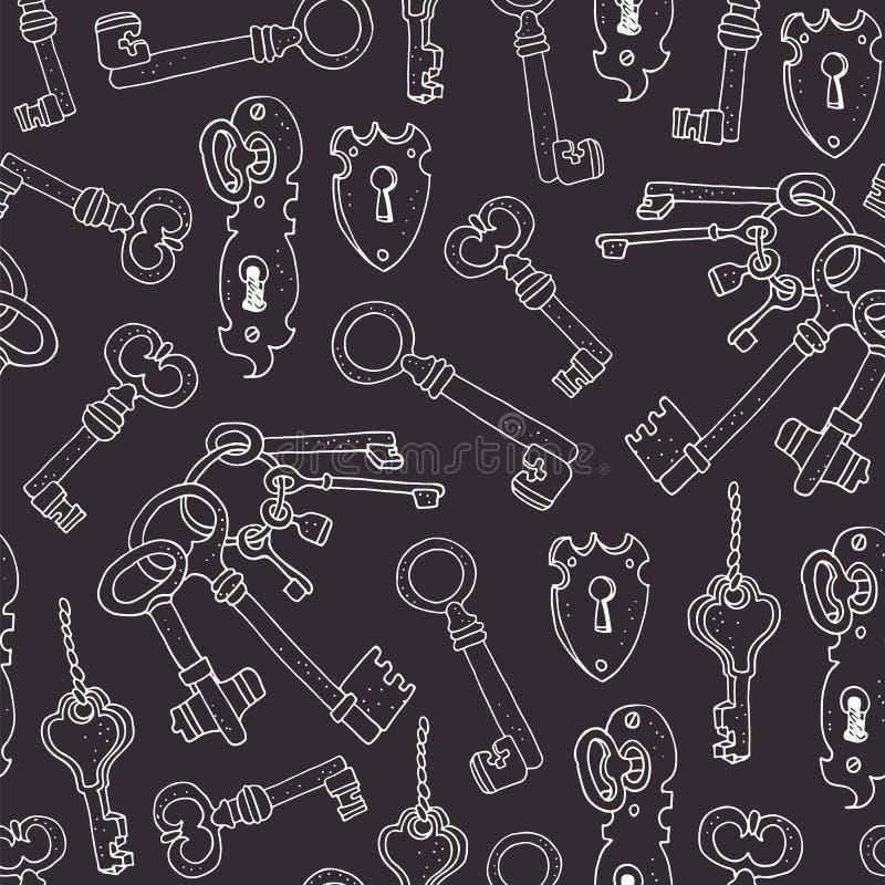 Uitstekende sleutels vector naadloze achtergrond stock illustratie
