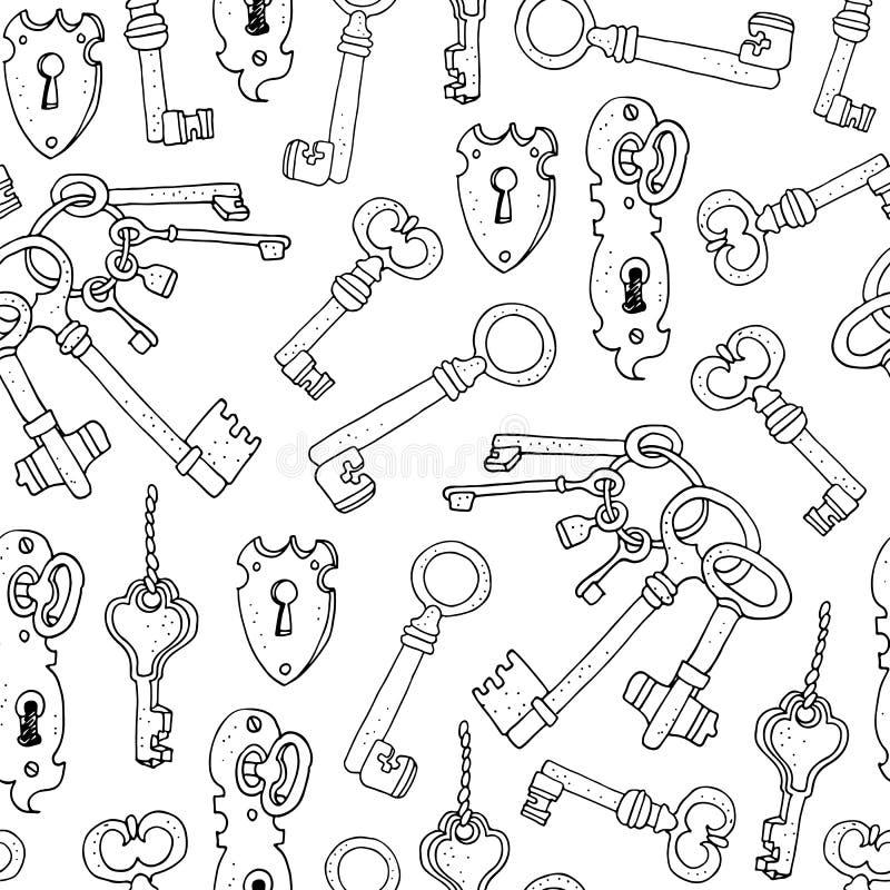 Uitstekende sleutels vector naadloze achtergrond royalty-vrije illustratie
