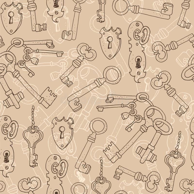 Uitstekende sleutels vector naadloze achtergrond vector illustratie
