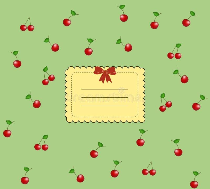 Uitstekende smakelijke kersenkaart stock illustratie