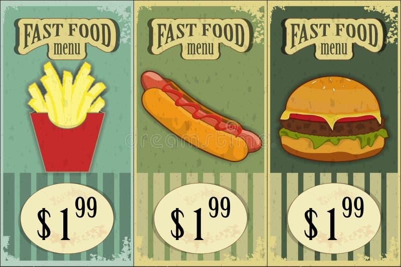 Uitstekende snel voedseletiketten royalty-vrije illustratie