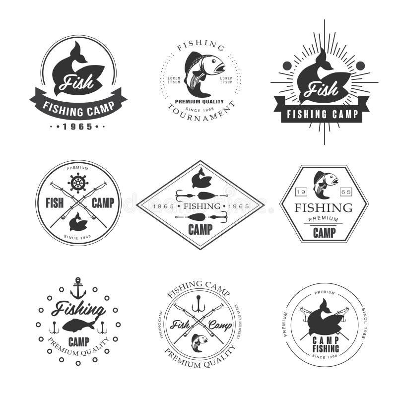 Uitstekende snoeken visserijemblemen, etiketten en ontwerp stock illustratie