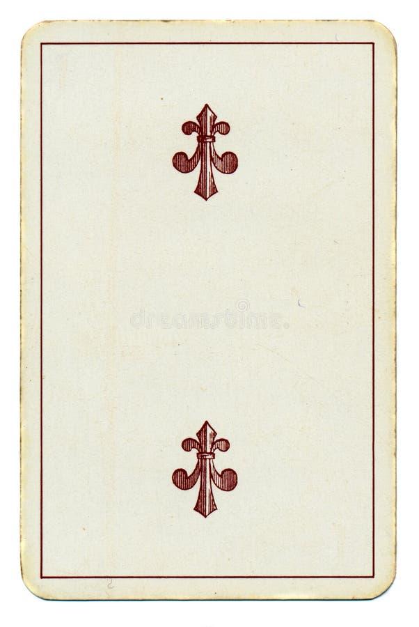 Uitstekende speelkaart met kruis twee stock foto