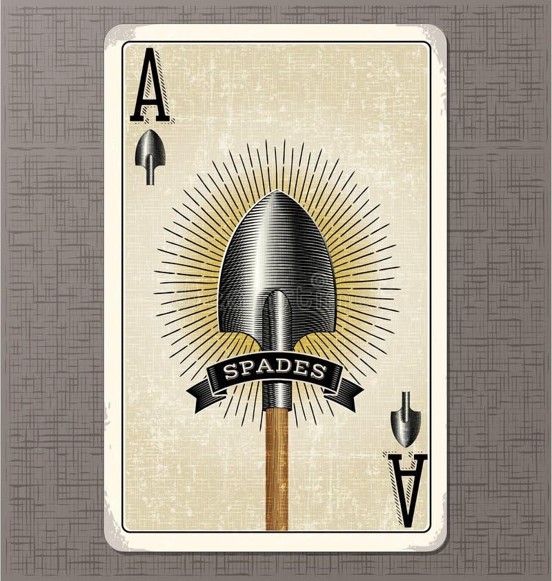 Uitstekende speelkaart vectorillustratie van de aas van spades stock illustratie
