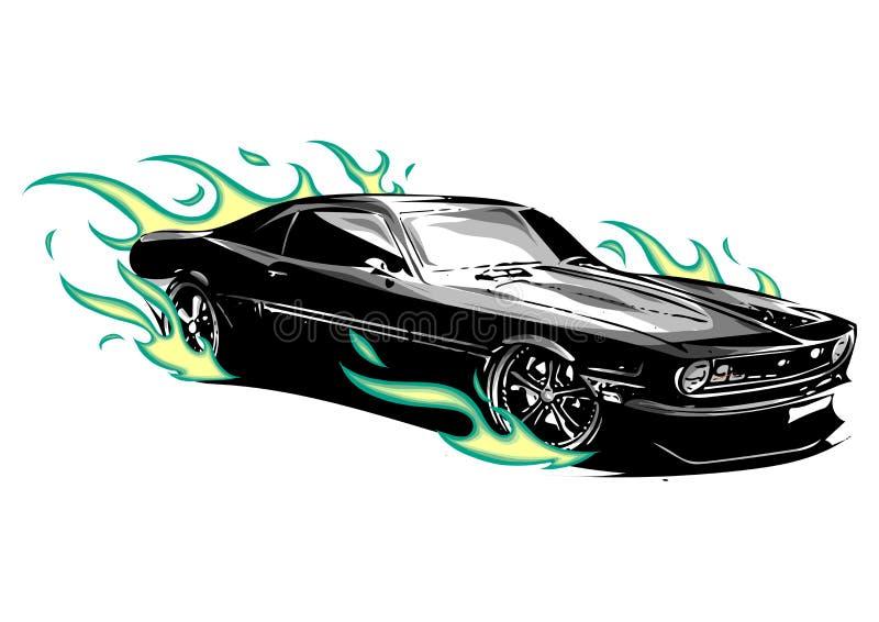 Uitstekende spierauto met rond vlammen a en brand vector illustratie