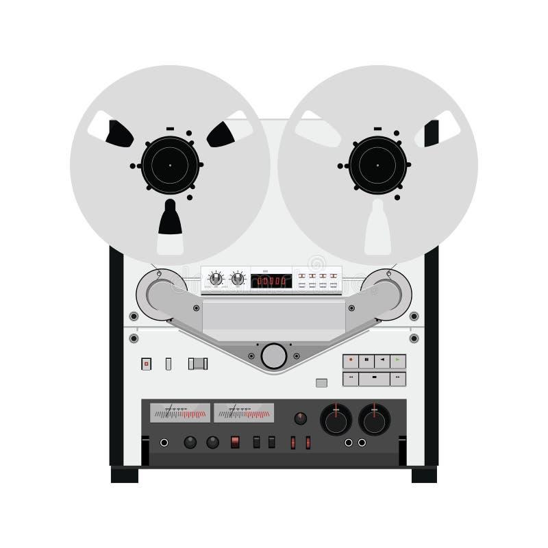 Uitstekende spoel om bandrecorderdek te winden Retro technologieën Vec vector illustratie