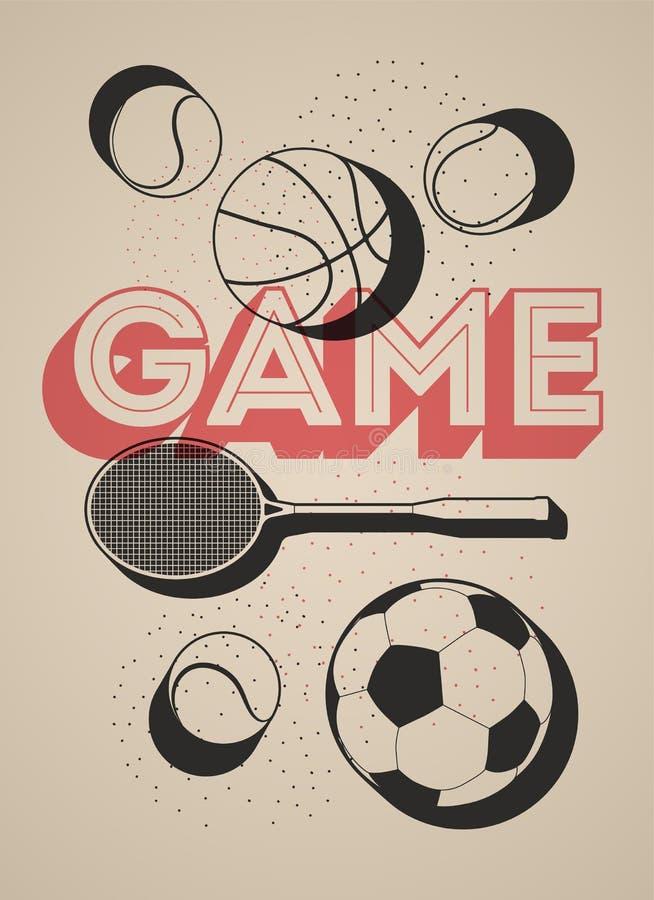 Uitstekende sportaffiche met basketbal, voetbal, tennisballen en racket Retro vectorillustratie royalty-vrije illustratie