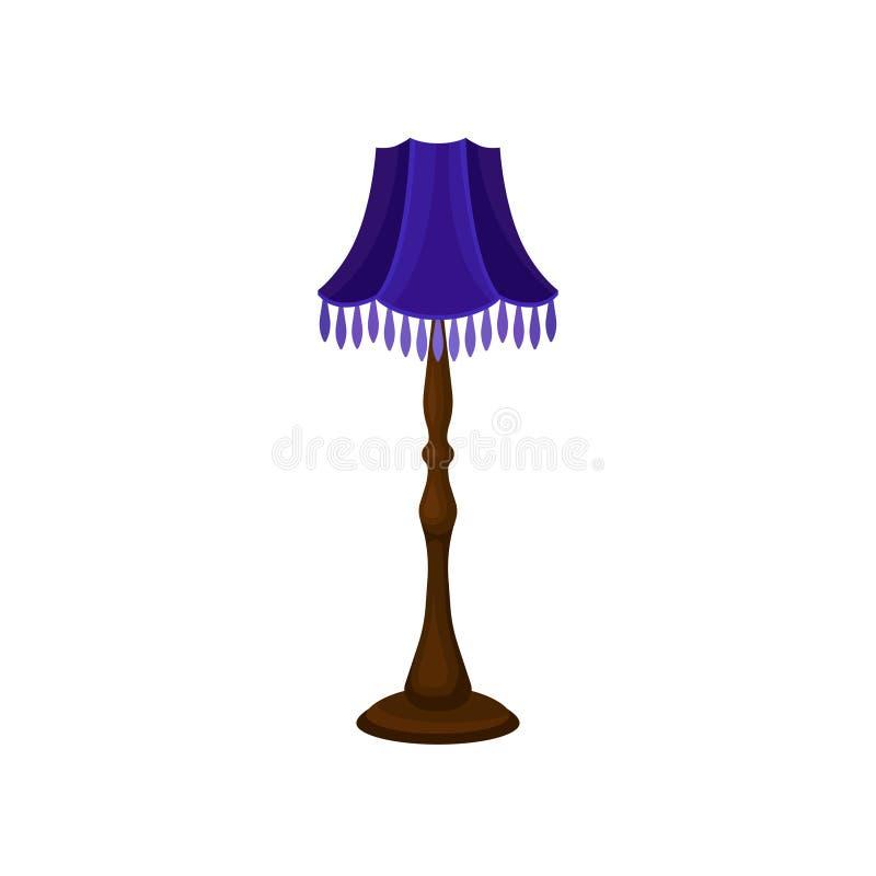 Uitstekende staande lamp met lange houten tribune en blauwe lampekap Binnenlands voorwerp Antiek huismeubilair Vlak vectorpictogr stock illustratie