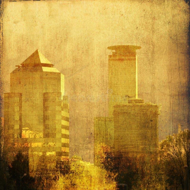 Uitstekende stadshorizon in sepia tonen royalty-vrije stock afbeelding