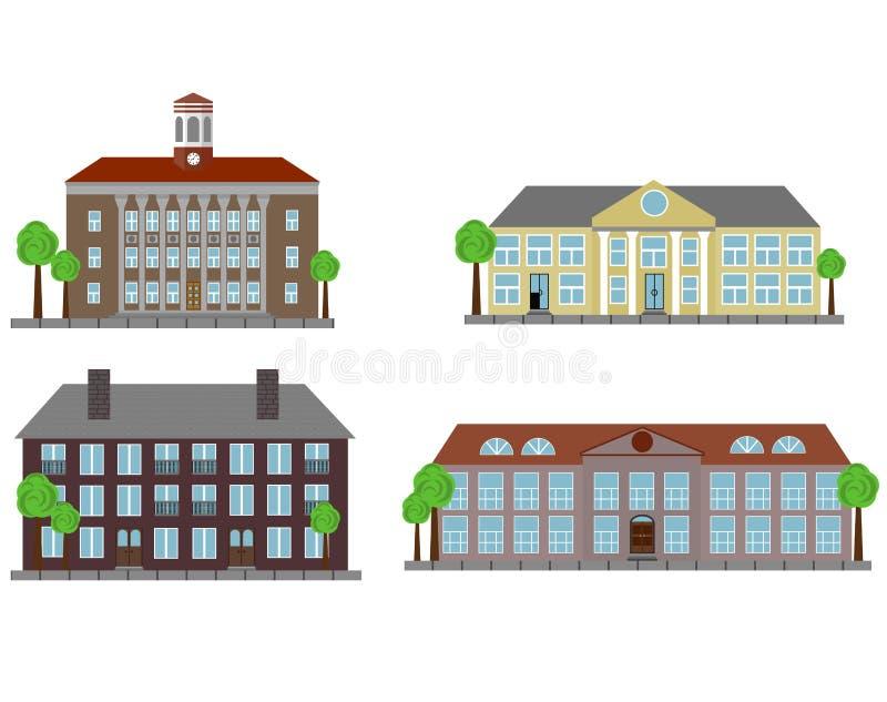 Uitstekende Stadshuizen Geplaatst die op Wit worden geïsoleerd stock illustratie