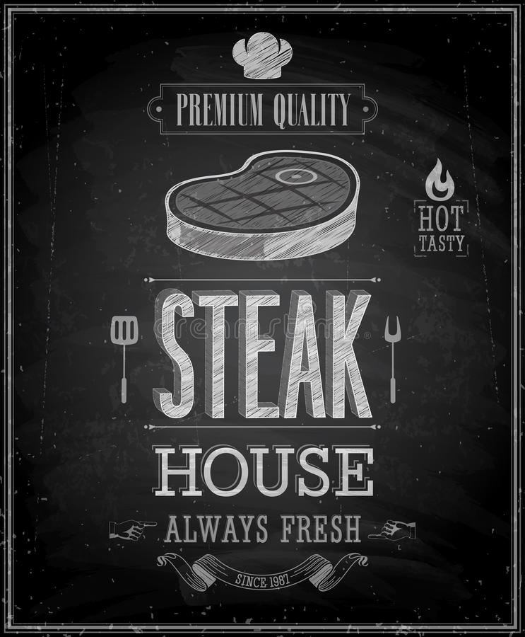 Uitstekende Steakhouse-Affiche - Bord. royalty-vrije illustratie