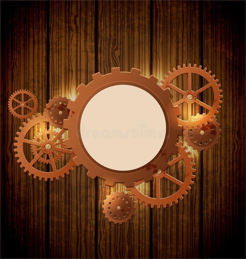 Uitstekende steampunkachtergrond royalty-vrije illustratie