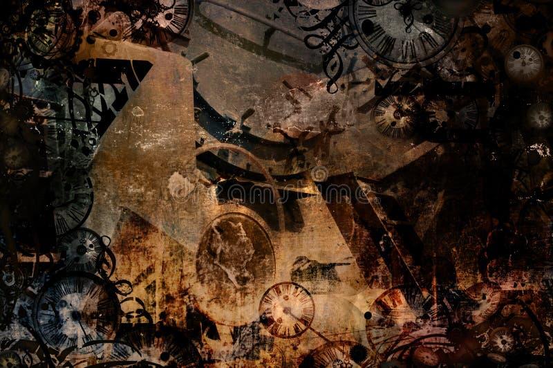 Uitstekende steampunkachtergrond van de tijdmachine royalty-vrije illustratie