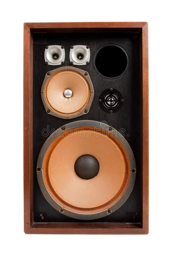 Uitstekende stereospreker op een witte achtergrond stock afbeelding
