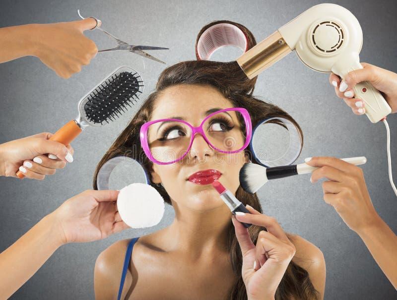 Uitstekende stijl en make-up stock afbeelding
