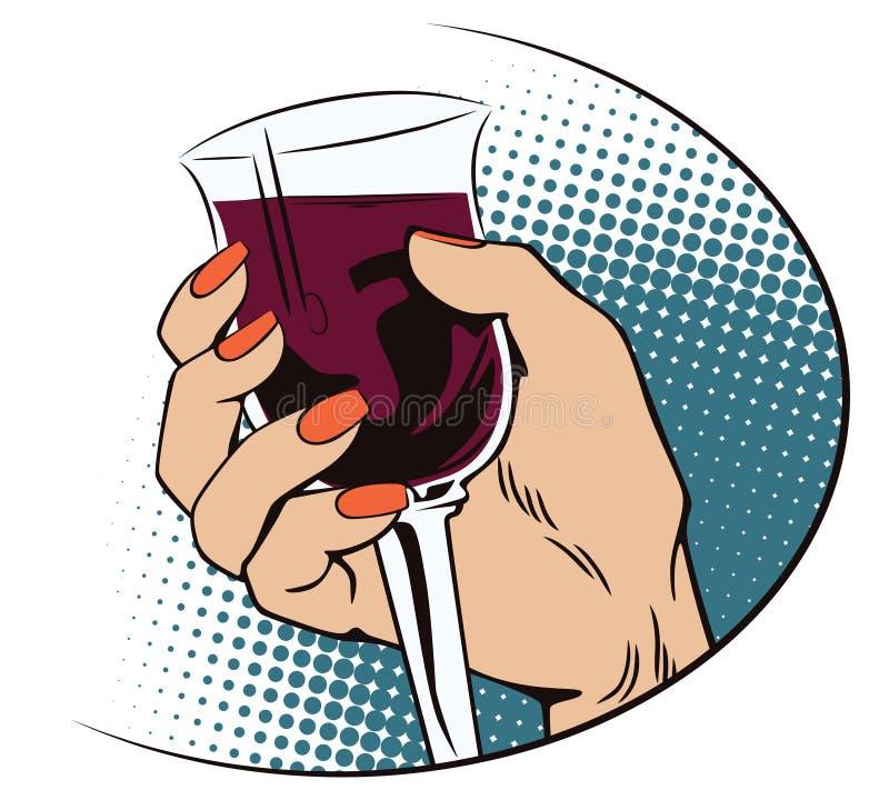Uitstekende stijl Hand met een glas wijn royalty-vrije illustratie