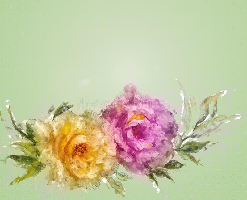 Uitstekende stijl roze en gele rozen stock illustratie