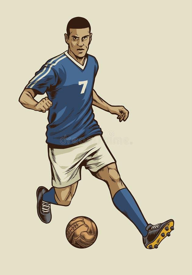 Uitstekende stijl van de voetballer in hand tekening stock illustratie