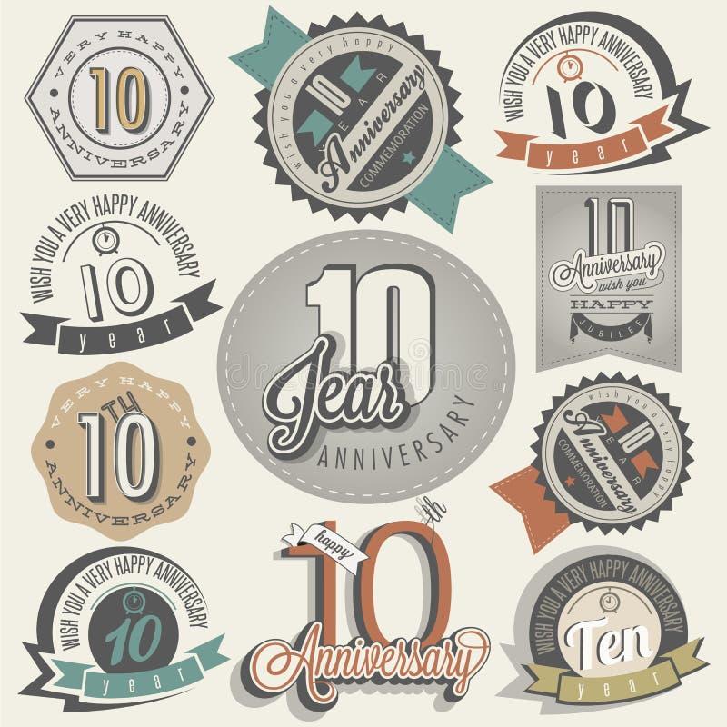 Uitstekende stijl 10 verjaardagsinzameling. stock illustratie