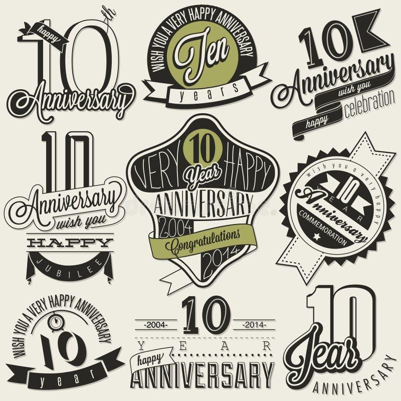 Uitstekende stijl 10 verjaardagsinzameling vector illustratie