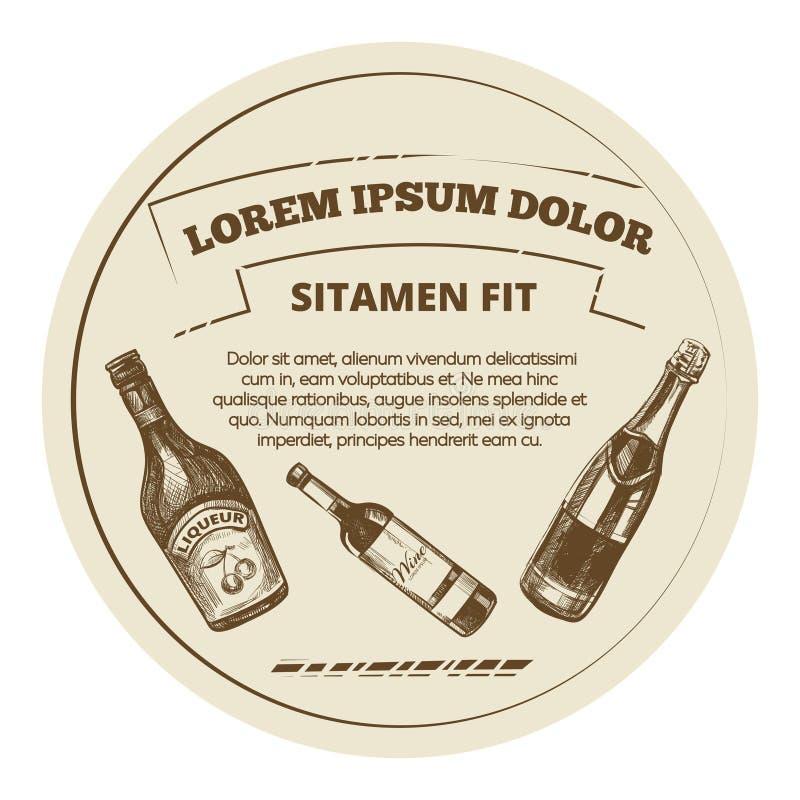 Uitstekende stijlbanner met alcoholdranken - de bannerontwerp van het drankenmenu vector illustratie